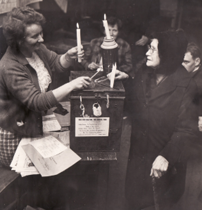 Biddy Commane of Ballyknock performs her civic duty in 1968